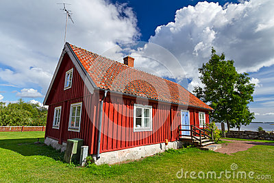 Swedish red cottage house