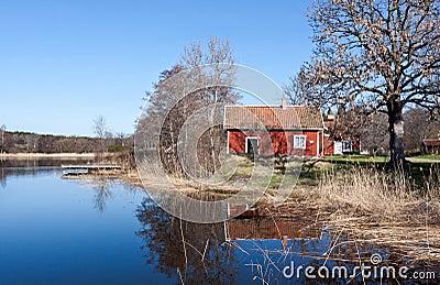 Swedish red  house at a lake.
