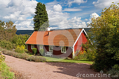 Swedish traditional cottage house