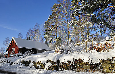 Swedish village architecture in winter