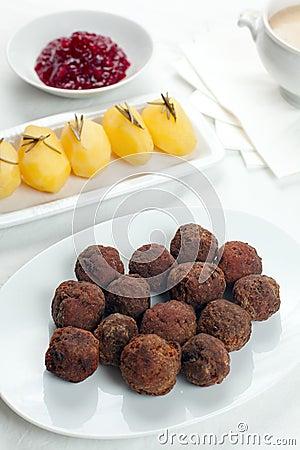 Sweedish Kottbullar meatball sauce potatoes jam