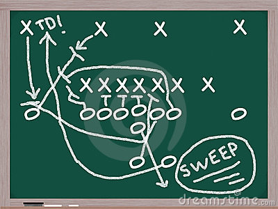 Sweep Football Play on Chalkboard