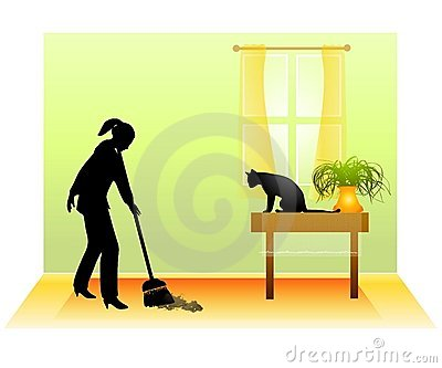 Sweeping The Floor With Cat