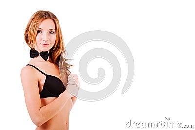 Sweet alluring girl in black lingerie