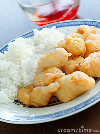 Free Sweet And Sour Chicken With Dipping Sauce. Stock Photo - 22811970
