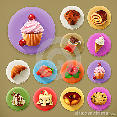 Free Sweet And Tasty, Long Shadow Icons Royalty Free Stock Photography - 57245997