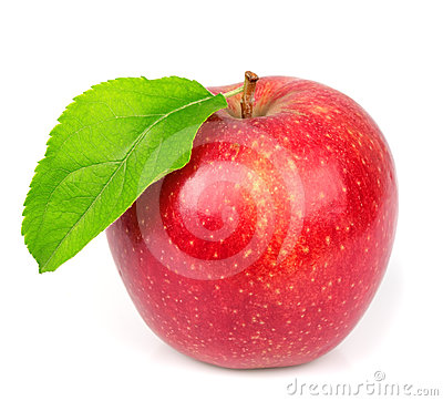 Free Sweet Apple With Leafs Stock Photography - 24592312