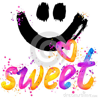 Free Sweet Baby. T-shirt Lettering Graphics Design. Text Sweet. T-shirt Graphics Design. Watercolor Illustration Stock Image - 63282121