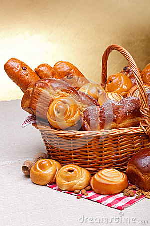 Sweet bakery products in basket