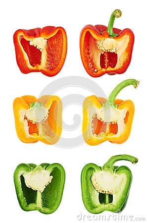 Free Sweet Bell Pepper Cut In Half Stock Photography - 45985472