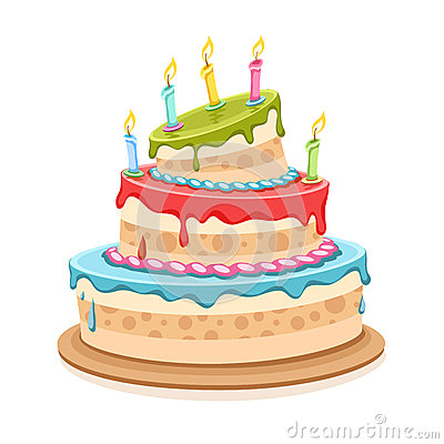 Sweet birthday cake with candles