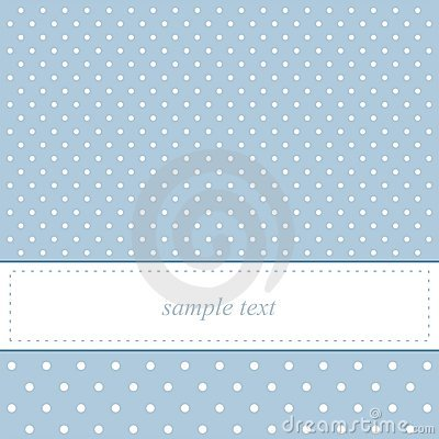 Sweet, blue polka dots vector card or invitation