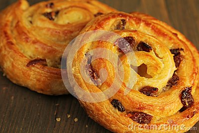 Sweet buns with raisins