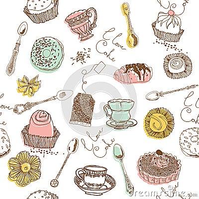 Free Sweet Cake. Seamless Pattern Stock Photos - 18455623