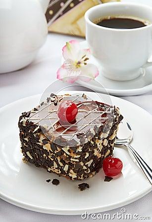 Sweet cake served