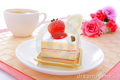 Sweet cake with strawberry at tea time