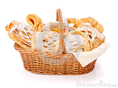 Sweet cakes in basket