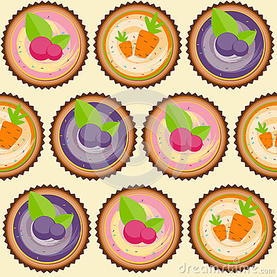 Sweet Cakes with Berry and Carrot Seamless Pattern Background Vector Illustration