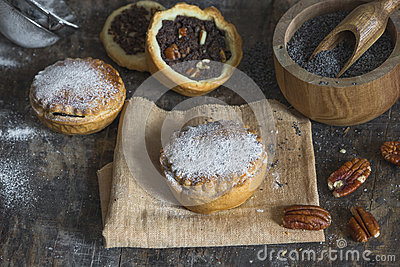Sweet cakes with poppy seed and nut filling Stock Photo