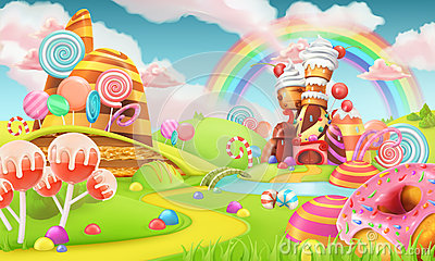 Sweet candy land. Cartoon game background. 3d vector Vector Illustration