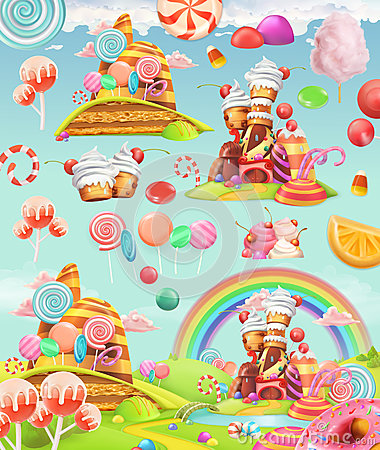 Free Sweet Candy Land. Cartoon Game Background. Vector Icon Set Royalty Free Stock Image - 84247816