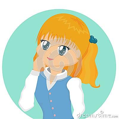 Sweet cartoon girl in blue. Keywords: