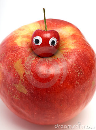 Free Sweet Cherry & Big Red Apple Stock Photos - 5750293