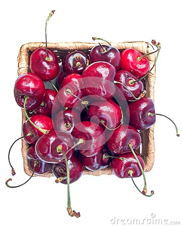 Free Sweet Cherry In Basket On White. Stock Image - 100007801