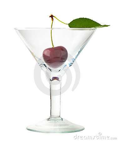 Sweet cherry with leaf in glass