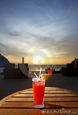 Free Sweet Cocktail On Sunset Beach Stock Image - 10397381