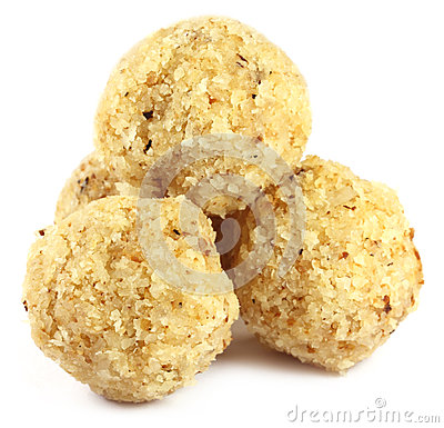 Sweet coconut ball named as Naru in Bangladesh