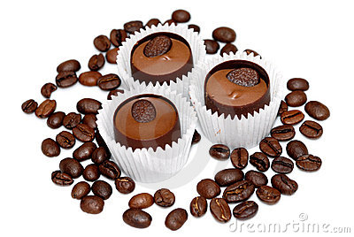 Sweet and coffee beans isolated