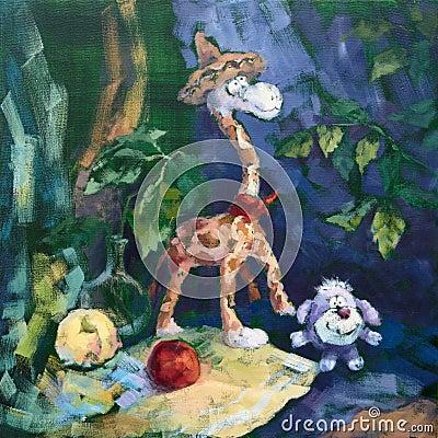 Sweet company of Giraffe and Dog