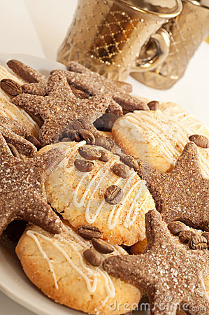 Sweet cookies with coffee and cinnamon