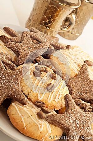 Sweet cookies with coffee and cinnamon
