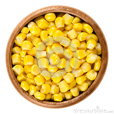 Free Sweet Corn Kernels In Wooden Bowl Over White Stock Photography - 80606472