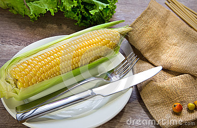 Sweet corn on wood