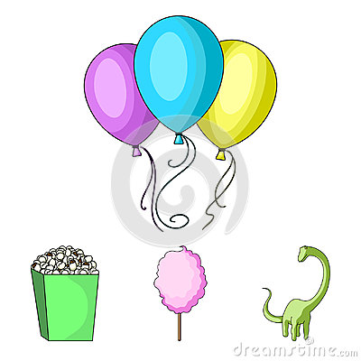 Free Sweet Cotton Wool On A Stick, A Toy Dragon, Popcorn In A Box, Colorful Balloons On A String. Amusement Park Set Royalty Free Stock Photography - 99209277