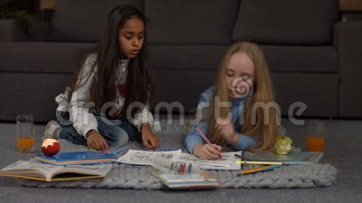Sweet creative kids making drawings and paintings stock footage