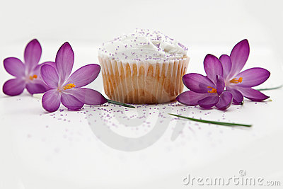 Sweet Cupcake And Purple Flowers