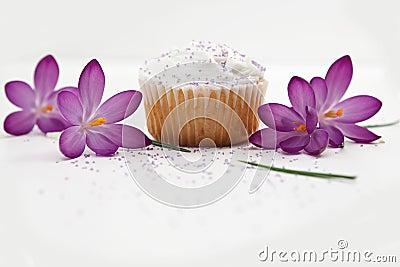 Sweet Cupcake And Purple Flowers