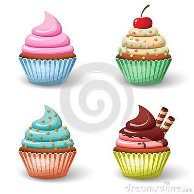 Sweet cupcake set Vector Illustration