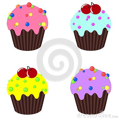 Sweet cupcakes set with decoration and fillings. Cartoon Illustration