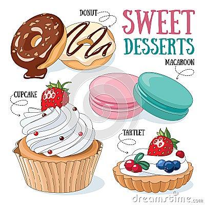 Sweet desserts Vector Illustration
