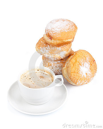 Free Sweet Donuts And Cup Of Black Coffee Royalty Free Stock Photos - 11735018