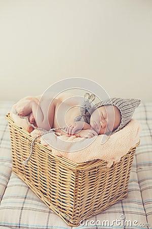 Free Sweet Dream Newborn Baby In A Big Basket Stock Image - 74011551