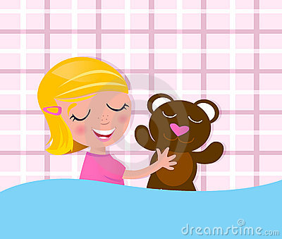 Sweet dreams: Sleeping child & teddy bear