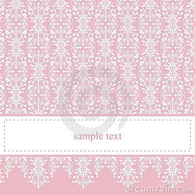 Sweet, elegant pink lace vector card or invitation