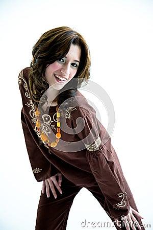 Sweet ethnic dress active girl