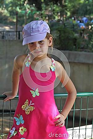 Sweet girl in a pink sarafan